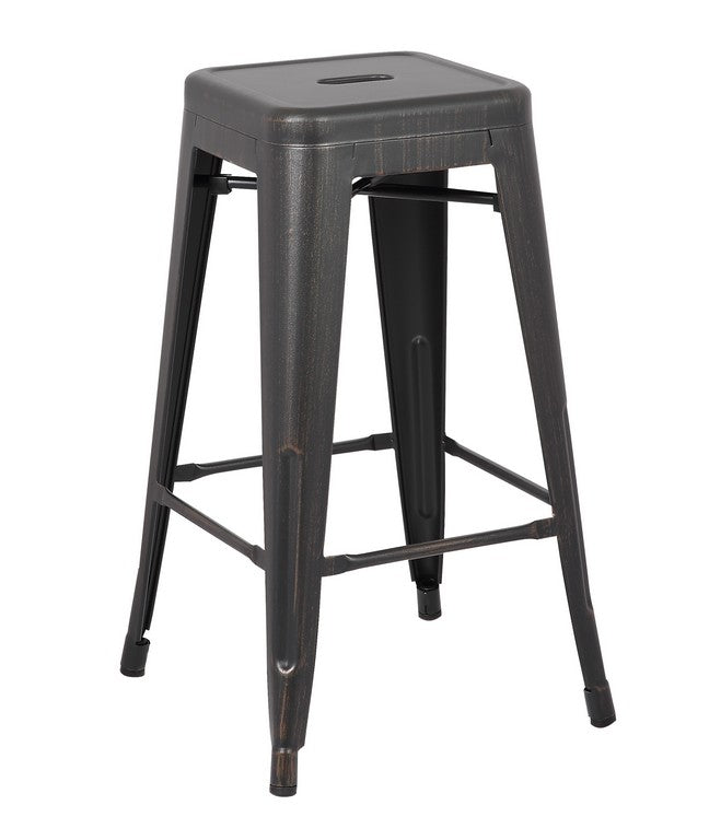 "30"" Distressed Black Backless Metal Barstool With a Set of 2"