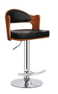 Black Contemporary Swivel Adjustable Padded Seat and Backrest Barstool