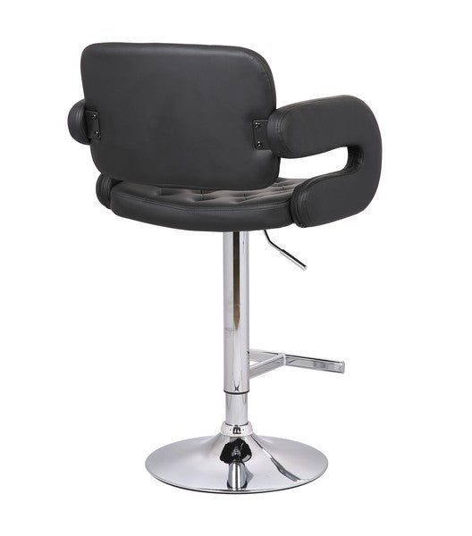 Black Contemporary Tufted Adjustable Swivel Arm Barstool with Cushion
