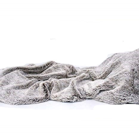 "78.75"" x 59"" Luxury Gray Faux Throw Blanket And Black Fleece"