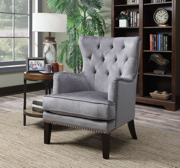 Anthracite Contemporary Tufted Hardwood Wingback Accent Chair