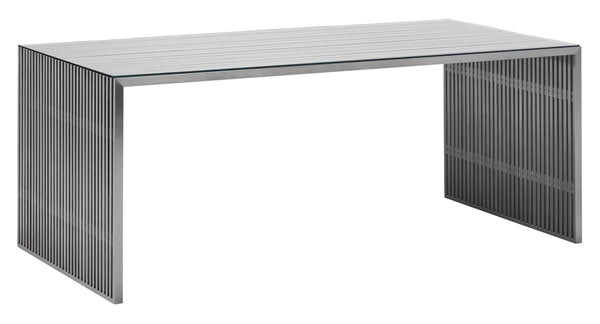 "73"" x 33.5"" x 29"" Brushed Stainless Steel, Tempered Glass, Dining Table"