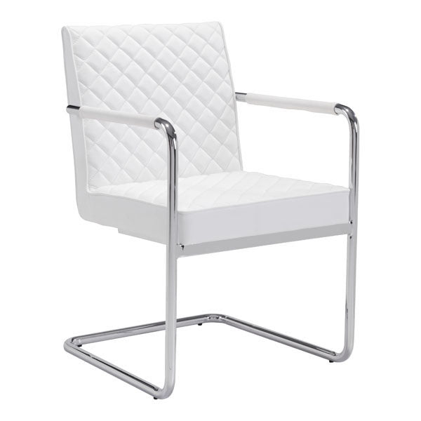 "22"" X 23"" X 33.9"" 2 Pcs White Leatherette Chromed Steel Dining Chair"