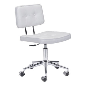 "22.4"" X 22.4"" X 35.8"" White Leatherette Office Chair"