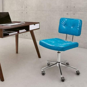 "22.4"" X 22.4"" X 35.8"" Blue Leatherette Office Chair"