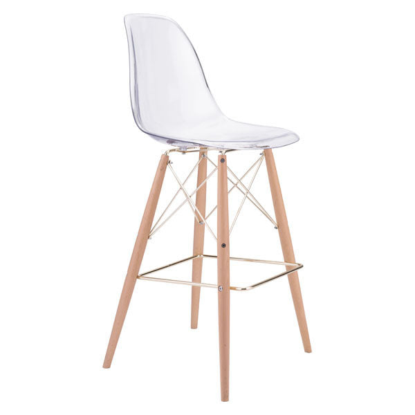 "20.3"" X 21.7"" X 44.3"" Polycarbonate Metal And Beech Wood Bar Chair"