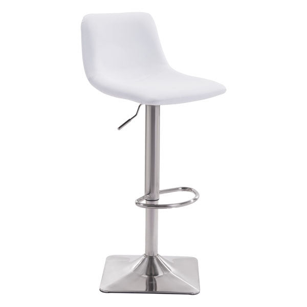 "17.3"" X 18"" X 42.9"" White Leatherette Brushed Steel Bar Chair"