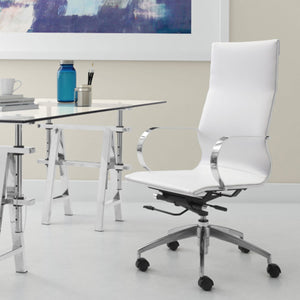 "27.6"" X 27.6"" X 45.3"" White Leatherette Back Office Chair"