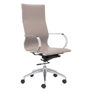 "27.6"" X 27.6"" X 45.3"" Taupe Leatherette Back Office Chair"