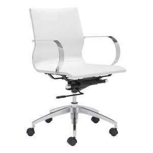 "27.6"" X 27.6"" X 36"" White Leatherette Low Back Office Chair"