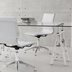 "26"" X 26"" X 36"" White Leatherette Conference Chair"