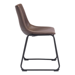 "19"" X 22.5"" X 30.8"" Vintage Espresso Leatherette Metal Dining Chair"