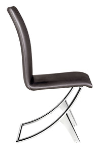 "17"" x 26"" x 39"" Espresso, Leatherette, Chromed Steel, Dining Chair - Set of 2"