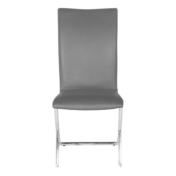 "17"" X 26"" X 36"" 2 Pcs Gray Leatherette Chromed Steel Dining Chair"