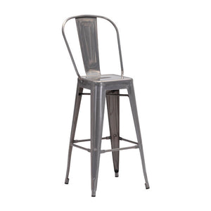 "17.3"" X 21.5"" X 46"" Gunmetal Steel Bar Chair"