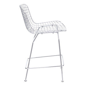 "21.3"" X 23"" X 35.8"" 2 Pcs Chrome Wire Counter Chair"
