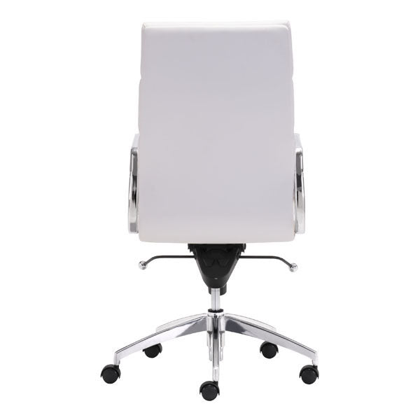 "21"" X 26"" X 44.5"" White Leatherette High Back Office Chair"