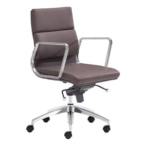 "21"" X 26"" X 39"" Espresso Leatherette Low Back Office Chair"
