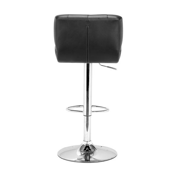 "17.7"" X 18.5"" X 43.7"" Black Leatherette Chromed Steel Bar Chair"