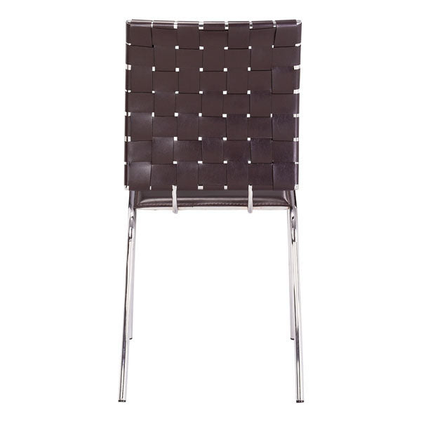 "17"" X 21"" X 35"" 4 Pcs Espresso Leatherette Chromed Steel Dining Chair"