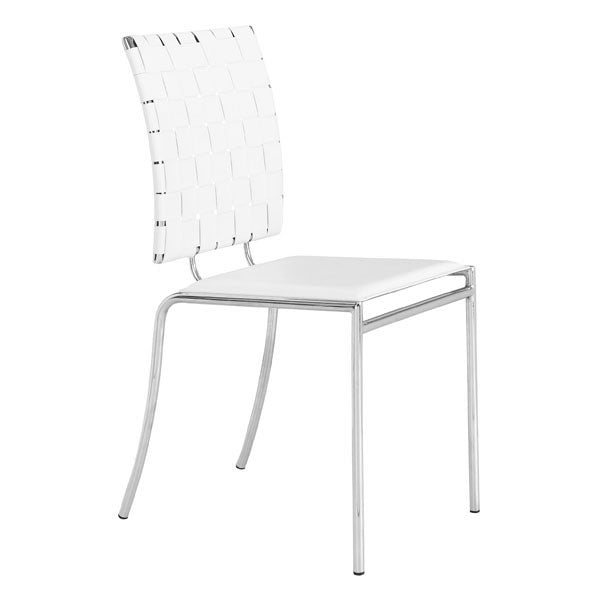 "17"" X 21"" X 35"" 4 Pcs White Leatherette Chromed Steel Dining Chair"