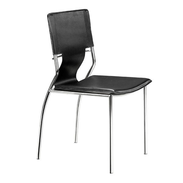 "17"" X 20"" X 33"" 4 Pcs Black Leatherette Chromed Steel Dining Chair"