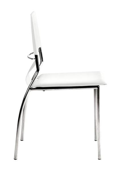 "17"" x 20"" x 33"" White, Leatherette, Chromed Steel, Dining Chair - Set of 4"