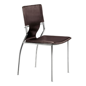 "17"" X 20"" X 33"" 4 Pcs Espresso Leatherette Chromed Steel Dining Chair"
