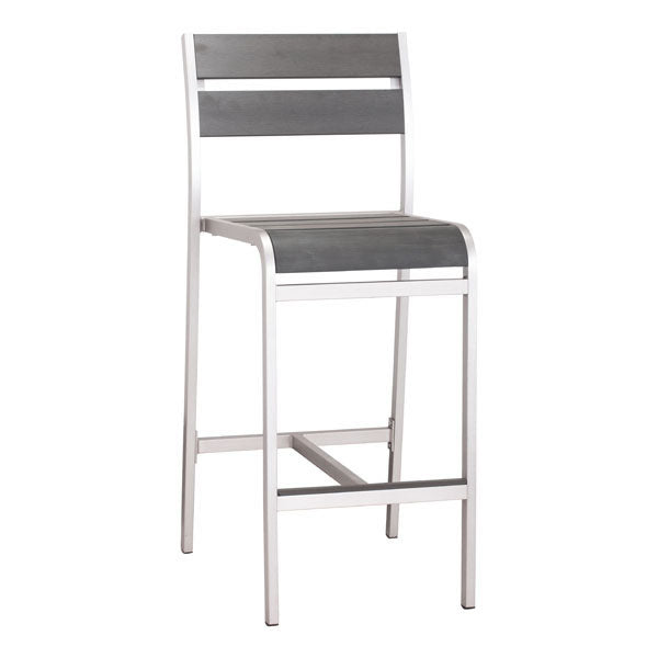 "19.3"" X 23"" X 44"" 2 Pcs Faux Wood Brushed Aluminum Bar Armless Chair"