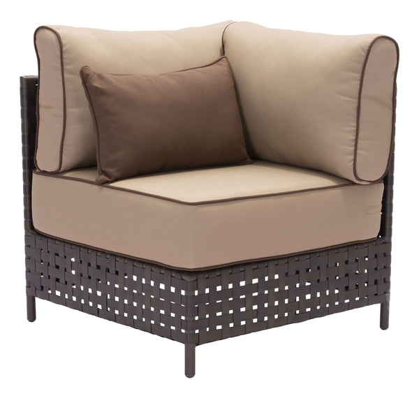 "31.5"" x 31.5"" x 35.4"" Brown & Beige, Sunproof Fabric, Aluminum, Synthetic Weave, Corner Chair"