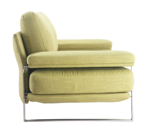"86.6"" x 37.4"" x 33.5"" Lime, Brushed Stainless Steel, Sofa"
