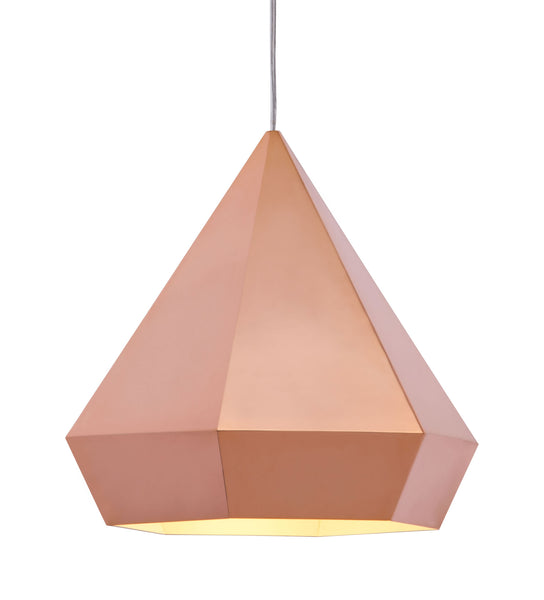 "13.8"" x 13.8"" x 13"" Rose Gold, Painted Metal, Steel, Ceiling Lamp"