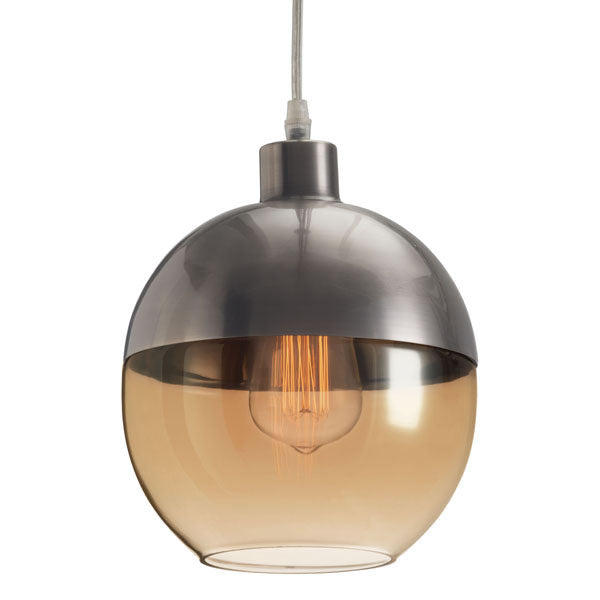 "7.9"" X 7.9"" X 9.8"" Glass Metal Ceiling Lamp"