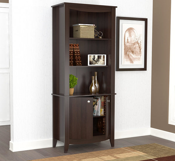 "70.9"" Classic Espresso Melamine and Engineered Wood Bookcase"