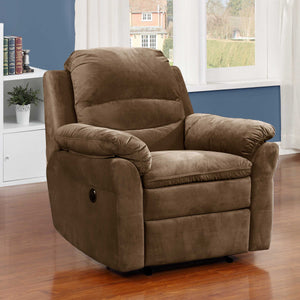 Brown Polyester Fabric Transitional Electric Power Recliner