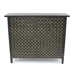"12"" x 43"" x 36"" Black & Gold, Vintage, Drawer - Cabinet"