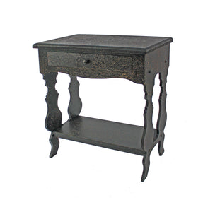 "14"" x 28"" x 29"" Black, 1 Drawer, Vintage, Wooden - Accent Table"
