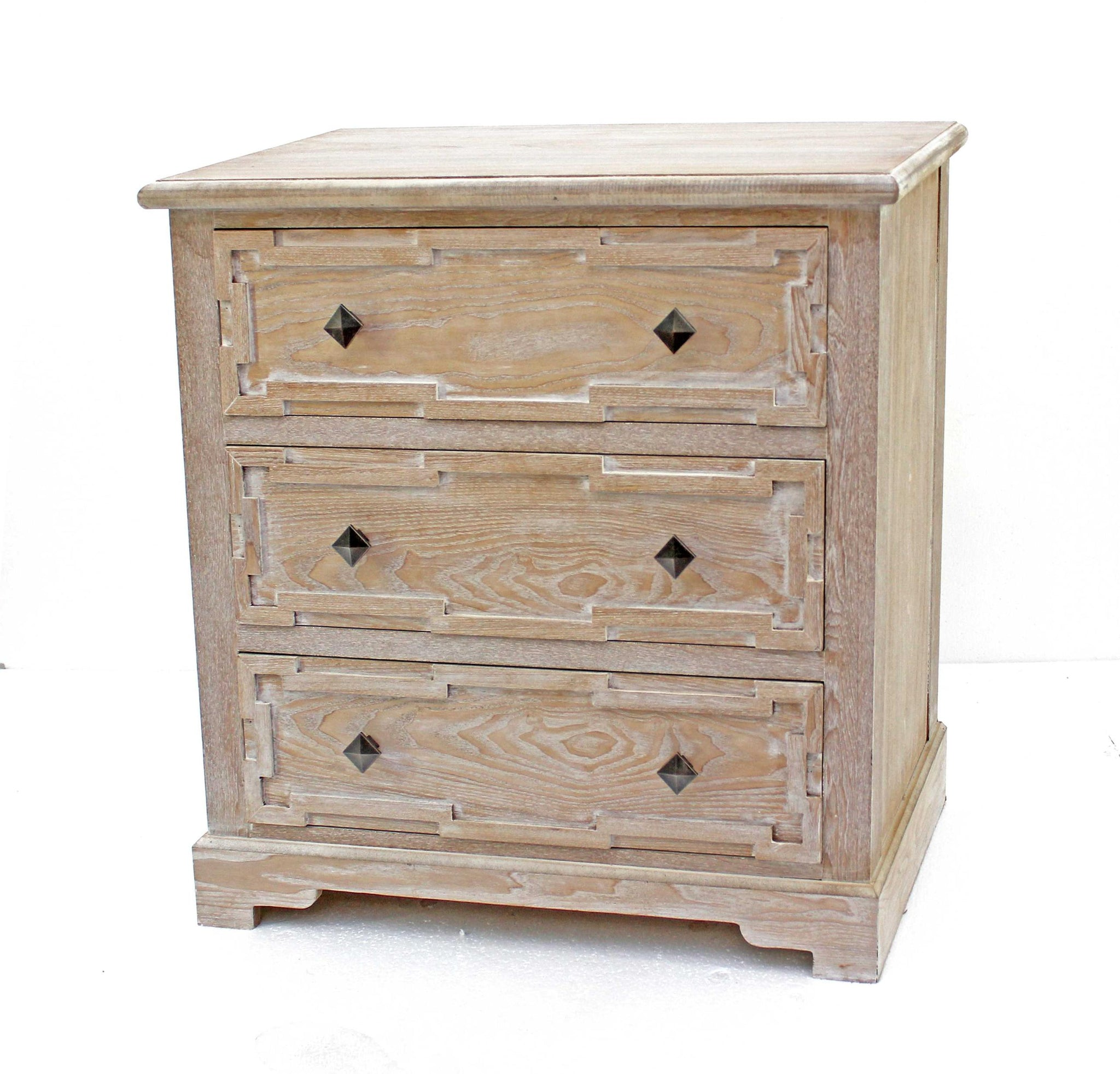 "16"" x 32"" x 32"" Natural, 3 Drawer, Rustic, White-Washed Wood - Cabinet"
