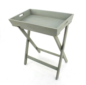 "15.5"" x 26"" x 30"" Gray-Light Blue, Wooden - Serving Table"