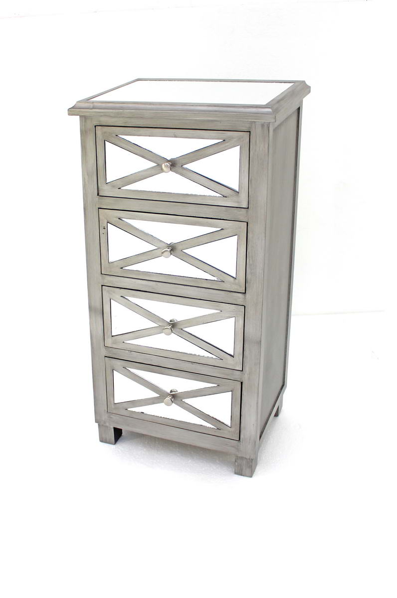 "13"" x 19"" x 39"" Silver, 4 Drawer, Mirrored - Chest"