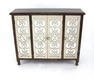 "12"" x 42"" x 37"" Brown & Silver, 4 Door, Wood - Accent Cabinet"