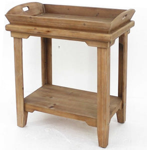 "18"" x 23"" x 18"" Natural, Rustic, Wooden - Table With Serving Tray Top"