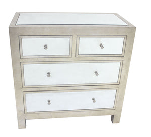 "18"" x 36"" x 36"" Silver, 4 Drawer, Mirrored, Wood - Cabinet"