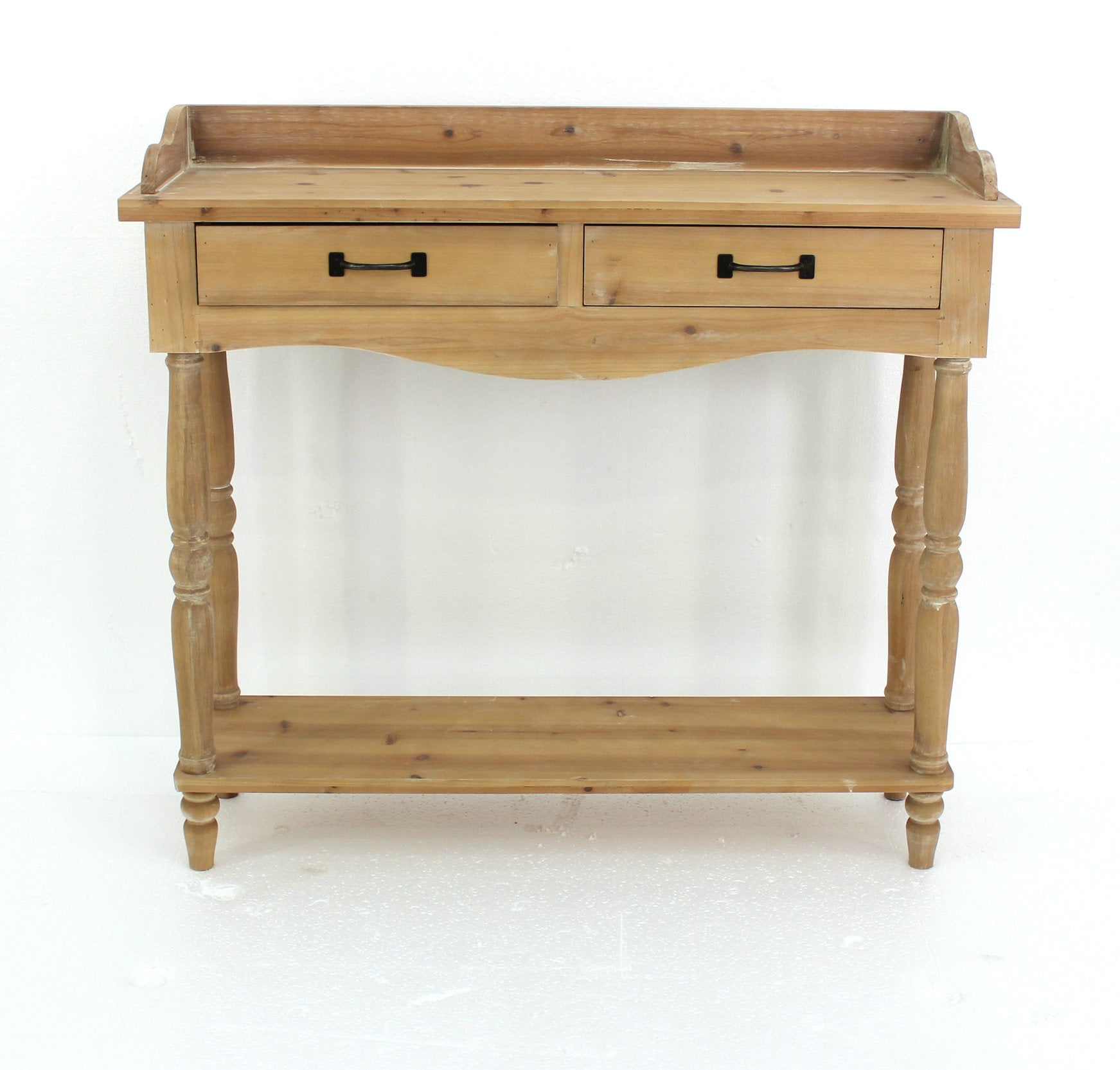 "11.75"" x 42"" x 38.5"" Natural, 2 Drawer, Rustic, Unfinished Dressing - End Table"