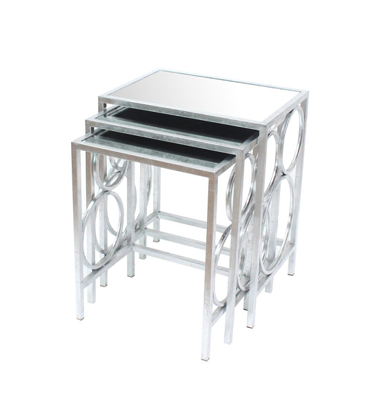 Silver 3 Piece Nesting Table Set