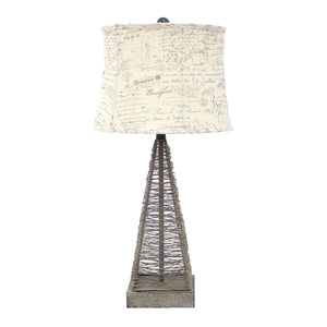 "15"" x 13"" x 28.5"" Tan, Industrial Metal With Gentle Linen Shade - Table Lamp"