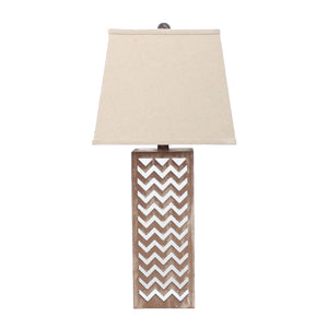 "6"" x 6"" x 27.5"" Tan, Metal, Mirror - Table Lamp"