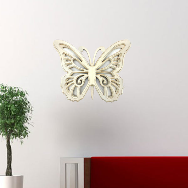 "18.5"" x 23"" x 4"" Light Yellow, Rustic Butterfly, Wooden - Wall Decor"