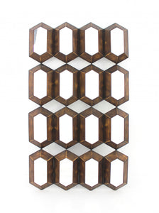 "42"" x 24.5"" x 2"" Bronze, Modern Diamante, Mirrored - Wall Sculpture"