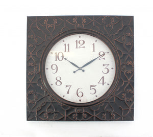 "28"" x 28"" x 2"" Brown, Vintage, Square, Brass Metal - Wall Clock"